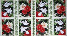 "Christmas Fabric - A Peaceful Season Dove Poinsettia Holly Cream - SSI 23"" Panel"