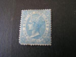 BRITISH HONDURAS, SCOTT # 1, 1p. VALUE PALE BLUE 1866 QV PERF 14 ISSUE MH