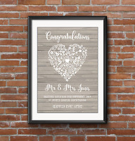 PERSONALISED A4/A3 Grey Wedding Print Marriage Gift Present. Rustic Wooden Grey