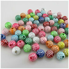 80PCS X 8MM SPARKLING SILVER DOT ACRYLIC ROUND BEADS FOR JEWELLERY MAKING