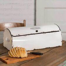 Farmhouse WHITE BREAD BOX Vintage Style Retro Kitchen Storage Bin Primitive