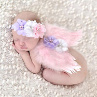 NEWBORN TODDLER BABY GIRLS ANGEL WING & HEADBAND PHOTO PROP COSTUME OUTFIT FADD