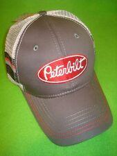 PETERBILT HAT:   Charcoal Grey / Striped Back Mesh Trucker  *Free Shipping USA *