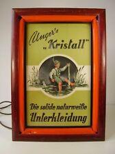 """Antike Leucht Werbung """" Kristall Unterkleidung """" vor 1945"""