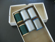 Vintage Sewing Threads Neospun Belding Corticelli Gray and Green 6 Spools 1930s