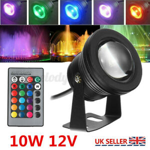 UK RGB LED Light Pond Spotlight Underwater Fountain Pool Waterproof Remote
