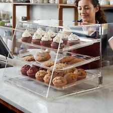3 Tray Bakery Clear Acrylic Pastry Pastries Display Case with Rear Doors