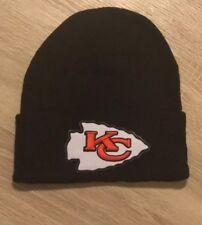 KANSAS CITY CHIEFS Beanie Embroidered Patch BLACK Cap Football Winter Hat NFL