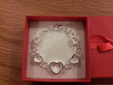 hearts Braceletand gift box Brand new silver plated chunky