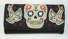 # LOUNGEFLY Sugar Skull WALLET Denim Nautical TRIFOLD Checkbook Floral Sparrow