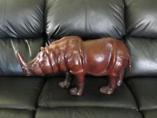 Vintage Large Leather Wrapped Rhinoceros Animal Figure Statue Rhino Art Safari