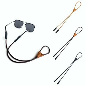 100% REAL LEATHER Spectacles Reading GLASSES CORD Chain Neck Strap Lanyard UK