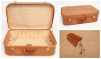 Vintage Tan Leather Suitcase 1960s 70s Battered Caravan Wedding Prop With 2 Keys
