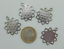 4pz ciondolo charm fiore della vita colore argento tibetano  25mm bijoux