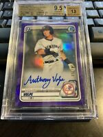 2020 Bowman Chrome Prospects Anthony Volpe Purple Refractor Auto BGS 9.5 10 #'d