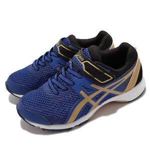 Asics Lazerbeam RE-MG Blue Gold Black Strap Junior Kids Running 1154A053-400