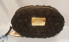 VICTORIA'S SECRET MAKE-UP BAG CASE ORGANIZER ROSES BLACK WITH ZIPPER NWT