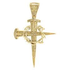 10K Yellow Gold Dagger Nail Diamond Cross Pendant Crown of Thorns Charm 0.41 Ct