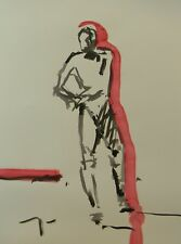 JOSE TRUJILLO - MODERN ABSTRACT EXPRESSIONIST INK WASH RED NUDE MALE STANDING