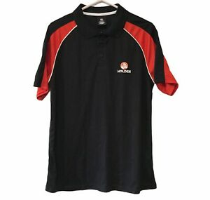 Holden Polo L Large Logo Men's Shirt Black Red Official HSV Car Collar Buttons