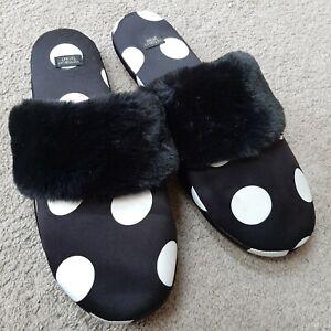 Victoria's Secret Signature Satin Slippers Black White Polka Dot Size Large 9/10