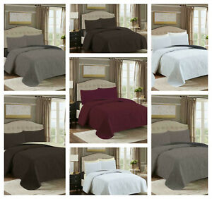 Luxury Embossed Reversible Bedding Set Cover Bed Spread Coverlet Quilt SizeT,Q,K
