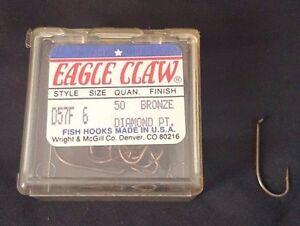 1 Pack 50 pcs Eagle Claw D57F Diamond Pt. Fishing Hook Bronze Size 6