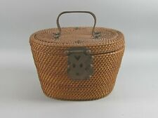 Hand Woven Chinese Tea Basket with Lid & Brass Hardware