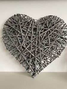 Extra Large Grey Wicker Heart Home Décor Bedroom Living Room Wall Art Rattan