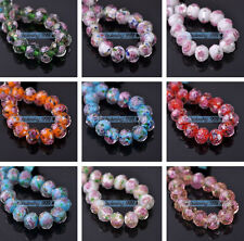 8pcs 10mm Lampwork Glass Rondelle Faceted Charms Loose Spacer Beads Findings