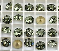 12 Black Diamond 1088 Swarovski Crystal Chaton Stone SS39 Foiled 8MM