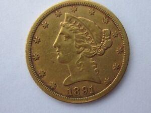 1891-CC LIBERTY HEAD HALF EAGLE $5 DOLLAR GOLD COIN NICE TYPE CARSON CITY RARE