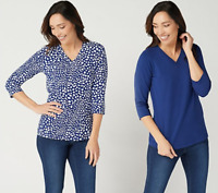 Denim & Co. Essentials Perfect Jersey Set of Two V-Neck Tops - Bright Navy/Small