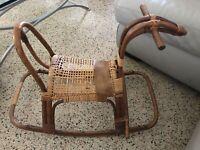 VTG MID CENTURY FRANCO ALBINI STYLE SCANDINAVIAN BAMBOO BENT WOOD ROCKING HORSE