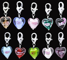 20 Glass Heart Clip On Charms Fit Link Bracelet