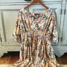 3X NWT Bohemian Plus Size Floral Button Front Modest 50s Swing Tunic Dress Pink