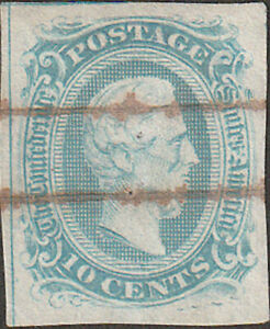 Confederate CSA #10 RARE Genuine Frame Line Stamp with CSA Certificate