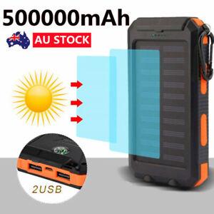 Solar Power Bank Waterproof 500000mAh 2 USB LED Battery Charger Portable Backup