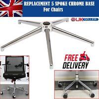 "24"" 60cm Office Chair Base Replacement 5 Spoke Star Swivel Stylish Chrome Metal"