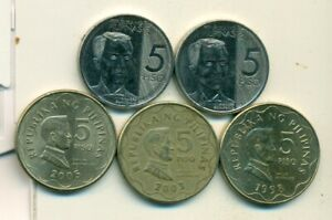 5 DIFFERENT 5 PISO COINS from the PHILIPPINES (1998, 2003, 2005, 2018 & 2019)