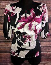 White House Black Market Pink Floral Blouse M Medium Slit Sleeve Embroidered Top