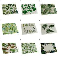 New Leaves Print Placemat Pad Linen Dining Table Insulation Mat Home Decor Green