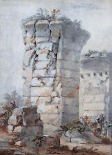 Charles Louis CLERISSEAU, Ruine antique, Italie, Dessin, France, XVIIIe, Art