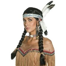 Womens Native Indian w Plaits & Feather Headband Wig Fancy Dress Pocahontas Fun