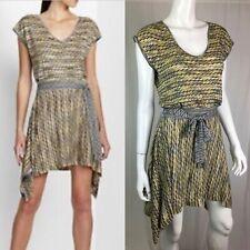 $228 BCBG Maxazria Small Silk Knit Yellow Belted Serena Flare Handkerchief Dress
