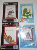 LOT OF 4 Counted Cross Stitch Kits - SUZY'S ZOO, CARE BEARS and APPLE's