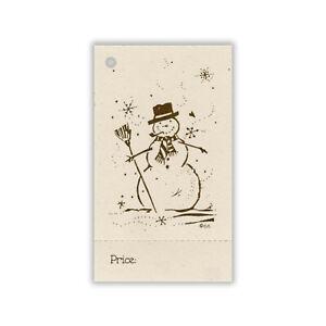 100 LG HANG TAGS PRIM Snowman,Christmas Tags,Perforated,Price Tags,Gift tags