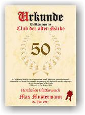"""Urkunde """"Club der alten Säcke"""" 18 20 30 40 50 60 70 Geburtstag Deko Geschenkidee"""