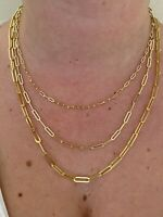 14k Gold Over Solid 925 Sterling Silver Paperclip Rolo Chain 2.5mm- 4mm Necklace