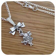 *Alice in Wonderland* mini Bow WHITE RABBIT necklace